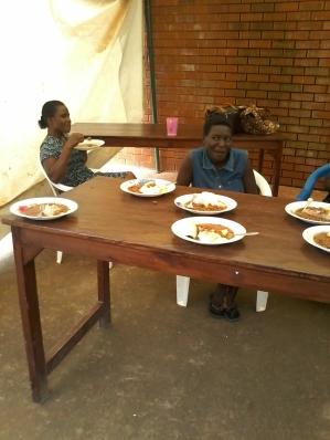 Ladies enjoying their meal!