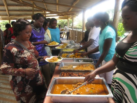 Being served food